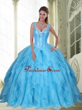 Beautiful Beading and Ruffles Baby Blue Quinceanera Dresses for 2015 SJQDDT23002FOR