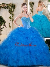 Beautiful  Beading and Ruffles Quinceanera Dresses in Blue SJQDDT233002-1FOR