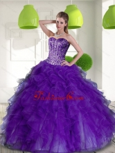 Beautiful Beading and Ruffles Sweetheart 2015 Quinceanera Dresses in Purple QDDTD35002FOR