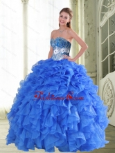 Beautiful Beading and Ruffles Sweetheart Blue Quinceanera Gown for 2015 Spring QDDTA47002FOR