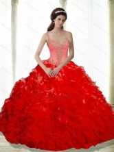 Beautiful Beading and Ruffles Sweetheart Red Dresses for a Quinceanera SJQDDT16002-3FOR