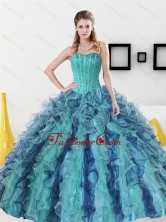 Beautiful Beading and Ruffles Sweetheart Sweet 16 Dress for 2015 QDDTD31002FOR