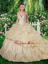 Beautiful Brush Train Champange Sweet 16 Gowns with Beading for Fall SJQDDT264002FOR