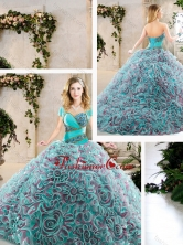 Beautiful  Brush Train Quinceanera Dresses with Beading and Ruffles SJQDDT240002-1FOR