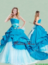 Beautiful Handcrafted Flowers and Ruffled Strapless Quinceanera Dress with Brush Train XFQD1192FOR