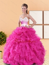 Beautiful Hot Pink 2015 Quinceanera Dresses with Beading and Ruffles QDDTA50002-2FOR