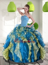 Beautiful Multi Color Quinceanera Dress with Beading and Ruffles for 2015 QDDTD6002FOR