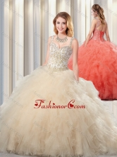 Beautiful Puffy Straps Champagne Quinceanera Dresses for 2016 SJQDDT347002FOR