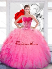 Beautiful Strapless 2015 Quinceanera Gown with Ruffles and Appliques QDDTB8002FOR