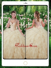 Beautiful Straps Beading 2016 Quinceanera Gowns in Champange SJQDDT267002FOR