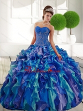 Beautiful Sweetheart 2015 Quinceanera Gown with Appliques and Ruffles QDDTB11002FOR