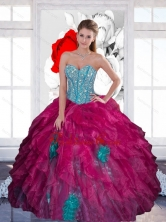 Beautiful Sweetheart Beading Ball Gown 2015 Quinceanera Dress with Ruffles QDDTA26002-1FOR