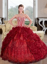 Beautiful Sweetheart Beading and Pick Ups 2015 Quinceanera Dresses in Wine Red QDDTA41002FOR
