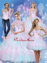 Beautiful Sweetheart Beading and Ruffles 2015 Quinceanera Dresses in Multi Color SJQDDT10001FOR