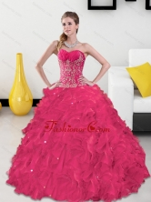 Beautiful Sweetheart Quinceanera Gown with Appliques and Ruffles QDDTB20002FOR