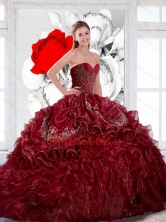 Beautiful Sweetheart Wine Red 2015 Quinceanera Dress with Appliques and Ruffles QDDTB15002FOR