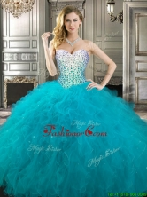 Beautiful Teal Really Puffy Quinceanera Dress with Beading and Ruffles YYPJ020FOR