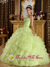 Bulnes Chile Customer Made Yellow Green Organza Ruffle Layers Quinceanera Dress With Strapless Style QDZY266FOR