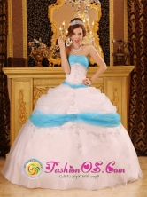Cabrero Chile Perfect Baby Blue Satin and Organza Quinceanera Dress With Pick-ups and Appliques Style QDZY101FOR