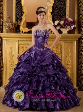 Carahue Chile Sweet 16 Quinceanera Dress With Organza Purple Sweetheart Ruffle Decorate Style QDZY020FOR