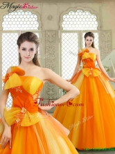 Cheap Appliques and Bowknot Quinceanera Gowns with One Shoulder YCQD002FOR