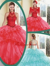 Cheap Appliques and Ruffles Quinceanera Dresses with Halter Top SJQDDT234002-1FOR