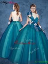 Cheap Hand Made Flowers Sweet 16 Dresses with High Neck YCQD047FOR