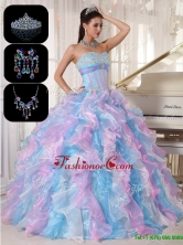 Cheap Ruffles and Appliques Quinceanera Gowns in Multi Color for 2016 PDZY334EFOR
