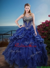 Classical Rhinestoned and Ruffled Sweet 16 Dress in Royal Blue XFQD1180FOR