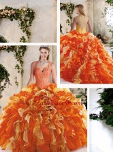 Classical Straps Quinceanera Dresses with Beading and Ruffles SJQDDT218002FOR