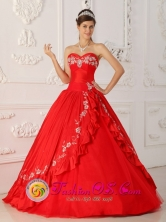 El Melon Chile Customer Made Red Sweet 16 Dress Sweetheart With Embroidery and Beading A-Line Style QDZY273FOR
