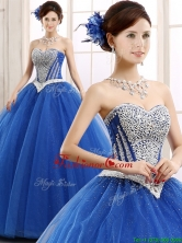 Elegant Beaded Bodice Really Puffy Sweet 16 Dress in Blue YCQD087FOR