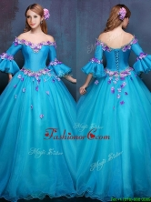 Elegant Off the Shoulder Three Fourth Length Sleeves Quinceanera Dress with Appliques YCQD091FOR