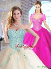 Elegant Sweetheart Quinceanera Dresses with Appliques and Sequins SJQDDT153002-1FOR