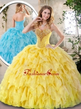 Elegant Yellow Quinceanera Dresses with Beading and Ruffles SJQDDT242002F