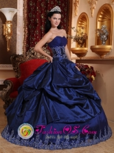 Estacion Zaldivar Chile Customer Made Royal Blue New For 2013 Quinceanera Dress Sweetheart Taffeta Appliques Ball Gown Style QDZY274FOR