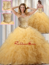 Exclusive Ball Gown Sweet 16 Dresses with Beading and Ruffles in Champagne SJQDDT348002FOR