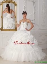 Exclusive Beading Sweetheart Quinceanera Gowns in White for 2016  QDZY465CFOR