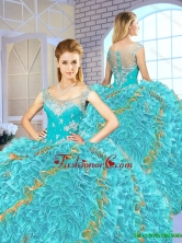 Exclusive Beading and Ruffles Quinceanera Gowns in Multi Color SJQDDT151002FOR