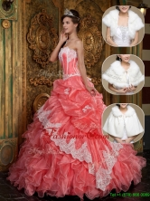 Exquisite Appliques and Ruffles Quinceanera Gowns in Waltermelon  QDZY018DFOR