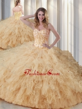 Exquisite Sweetheart Champagne Quinceanera Dresses with Appliques and Ruffles SJQDDT340002FOR
