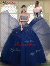 Fall Gorgeous Ball Gown Strapless Quinceanera Gowns in Navy Blue YCQD038-1FOR