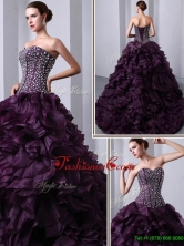 Fashionable Sweetheart Beading and Ruffles Quinceanea Dresses with Brush Train for 2016 UNION19T06BFOR
