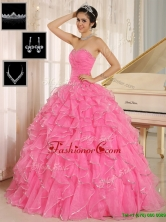 Gorgeous Rose Pink Quinceanera Dresses with Ruffles and Beading for 2016 ZY744CFOR