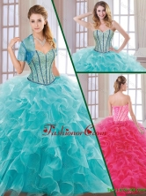 Hot Sale Beading and Ruffles Quinceanera Dresses with Sweetheart  SJQDDT183002FOR
