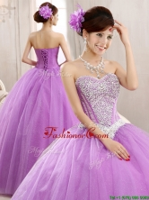 Hot Sale Lilac Really Puffy Tulle Quinceanera Dress with Beading YCQD087-1FOR