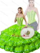 Hot Sale Spring Green Detachable Quinceanera Dresses with Beading and Ruffled Layers SJQDDT254002-3FOR