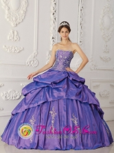Hualqui Chile Custom Made Elegant Purple Embroidery and Beading Quinceanera Dress With Pick-ups Taffeta For 2013 Fall Style QDZY269FOR