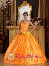 Hualqui Chile Embroidery and Bowknot For Beautiful Orange Quinceanera Dress Strapless Satin For 2013 Spring Style QDZY289FOR