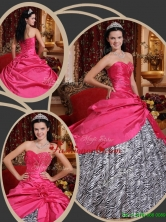 Inexpensive Ball Gown Sweetheart Quinceanera Dresses in Hot Pink  QDZY367BFOR